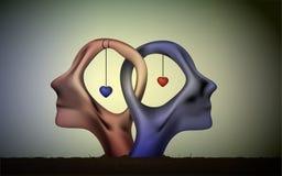 O ícone da união, pessoa dirige no amor, no homem azul e nas cabeças vermelhas da mulher no amor, sonho romântico surrealista, ju ilustração do vetor