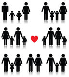 O ícone da vida familiar ajustou-se no preto com um coração vermelho Fotografia de Stock