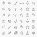 O ícone da Web do esboço ajustou - o partido, aniversário, feriados Imagens de Stock