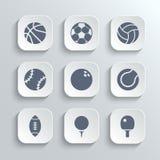 O ícone das bolas do esporte ajustou-se - vector os botões brancos do app Imagem de Stock Royalty Free
