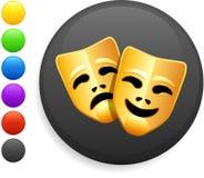 O ícone das máscaras da tragédia e da comédia no Internet abotoa-se Foto de Stock