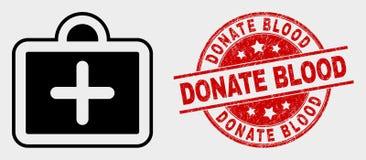 O ícone de primeiros socorros do caso do vetor e riscado doa o selo do selo do sangue ilustração royalty free