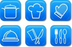 O ícone do alimento abotoa o jogo lustroso ilustração do vetor