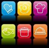 O ícone do alimento abotoa o jogo lustroso ilustração stock