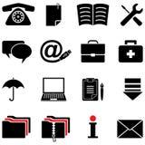 O ícone do computador ajustou-se (as cores preto e branco) Fotos de Stock Royalty Free