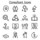 O ícone do consultante & do perito ajustou-se na linha estilo fina ilustração royalty free