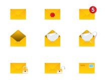 O ícone do correio ajustou 3 ilustração do vetor