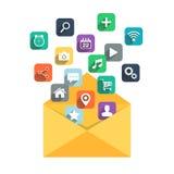 O ícone do email com ícones da Web ajustou-se no fundo branco Fotografia de Stock Royalty Free