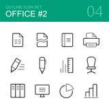O ícone do esboço do vetor do escritório ajustou 2 Foto de Stock