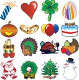 O ícone do feriado ajustou 3 Imagens de Stock Royalty Free
