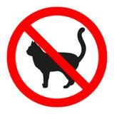 O ícone do gato no círculo vermelho da proibição, nenhuns animais de estimação proibe o sinal, símbolo proibido ilustração do vetor