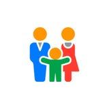 O ícone do homem, da mulher e da criança vector, sinal liso enchido, pictograma colorido contínuo isolado no branco ilustração royalty free
