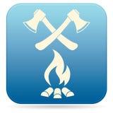 O ícone do machado e da fogueira Imagens de Stock Royalty Free