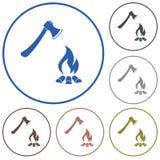 O ícone do machado e da fogueira Fotos de Stock Royalty Free
