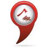 O ícone do machado e da lenha Fotos de Stock