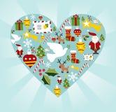 O ícone do Natal ajustou-se na forma do coração Fotografia de Stock