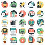 O ícone do negócio, da tecnologia e das finanças ajustou-se para Web site e aplicações e serviços móveis Vetor liso ilustração do vetor