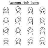 O ícone do penteado da mulher ajustou-se na linha estilo fina Fotos de Stock Royalty Free