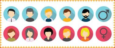 O ícone do perfil do avatar do vetor ajustou - o grupo de ícones das caras dos povos Fotos de Stock