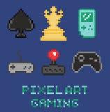 O ícone do projeto de jogo da arte do pixel ajustou - a xadrez, gamepades ilustração royalty free