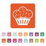 O ícone do queque Sobremesa e cozido, bolo, símbolo da padaria liso ilustração do vetor