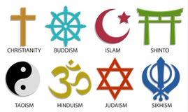 O ícone do símbolo da religião do mundo ajustou-se no fundo branco, 3D vetor co Imagem de Stock