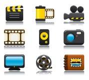 O ícone do vídeo e da foto ajustou um Imagens de Stock