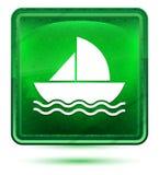 O ícone do veleiro de néon ilumina - o botão quadrado verde ilustração royalty free