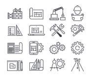 O ícone do vetor da engenharia e da fabricação ajustou-se na linha estilo fina Fotos de Stock Royalty Free