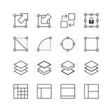 O ícone dos elementos da interface de utilizador & do gráfico ajustou 2 - Vector a ilustração, linha ícones ajustados ilustração do vetor