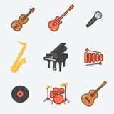 O ícone dos instrumentos musicais ajustou-se (violino, guitarra elétrica, Mic, saxofone, real, xilofone, cera, cilindros, guitarr ilustração do vetor