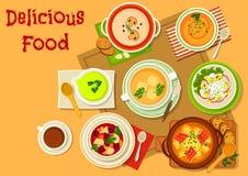 O ícone dos pratos da sopa e da salada para o menu projeta ilustração royalty free