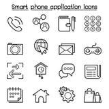 O ícone esperto básico da aplicação do telefone ajustou-se na linha estilo fina Fotografia de Stock Royalty Free