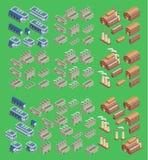 O ícone isométrico do vetor da fábrica ajustou que inclui as construções 3d, armazenou o armazém e outras estruturas industriais  Imagem de Stock