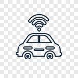 O ícone linear do vetor autônomo do conceito do carro isolado sobre transparen ilustração royalty free