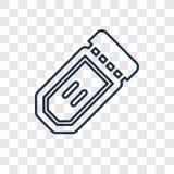 O ícone linear do vetor do conceito dos bilhetes do circo isolado sobre transparen ilustração stock