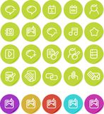O ícone liso das etiquetas ajustou-se: Internet que blogging Imagens de Stock