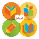 O ícone liso do metro ajustou-se sobre a educação, a escola e o crescimento Fotografia de Stock Royalty Free