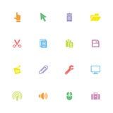 O ícone liso simples colorido ajustou 3 Imagens de Stock Royalty Free