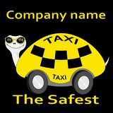o ícone o mais seguro do logotipo do táxi da etiqueta do Tartaruga-táxi Imagem de Stock Royalty Free