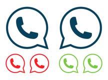 O ícone moderno do telefone do vetor ajustou-se no discurso da bolha Foto de Stock Royalty Free