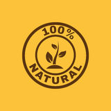 O ícone natural de 100 por cento Eco e bio, símbolo da ecologia liso Imagem de Stock