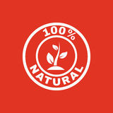 O ícone natural de 100 por cento Eco e bio, símbolo da ecologia liso Fotografia de Stock Royalty Free