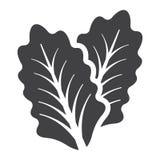 O ícone, o vegetal e a salada contínuos da alface folheiam ilustração royalty free
