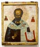 O ícone ortodoxo do russo antigo de São Nicolau pintou em de madeira Imagem de Stock Royalty Free