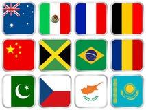 o ícone quadrado das bandeiras ajustou 2 ilustração royalty free