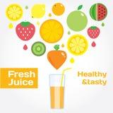 O ícone redondo colorido do fruto do suco fresco ajustou-se para o mercado ou o café Foto de Stock Royalty Free