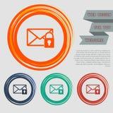 O ícone secreto do correio nos botões vermelhos, azuis, verdes, alaranjados para seu Web site e no projeto com espaço text Imagens de Stock