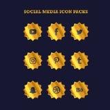 O ícone social popular dos meios embala a cor do ouro do crachá ilustração stock