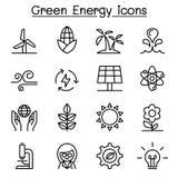 O ícone verde da energia ajustou-se na linha estilo fina Foto de Stock Royalty Free